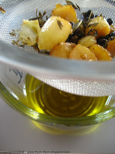 Strain the garlic oil