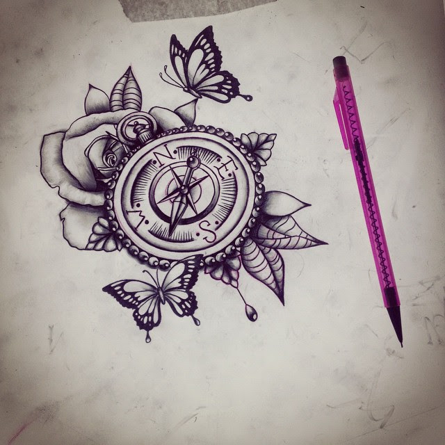 Flower And Compass Tattoo Design Sample