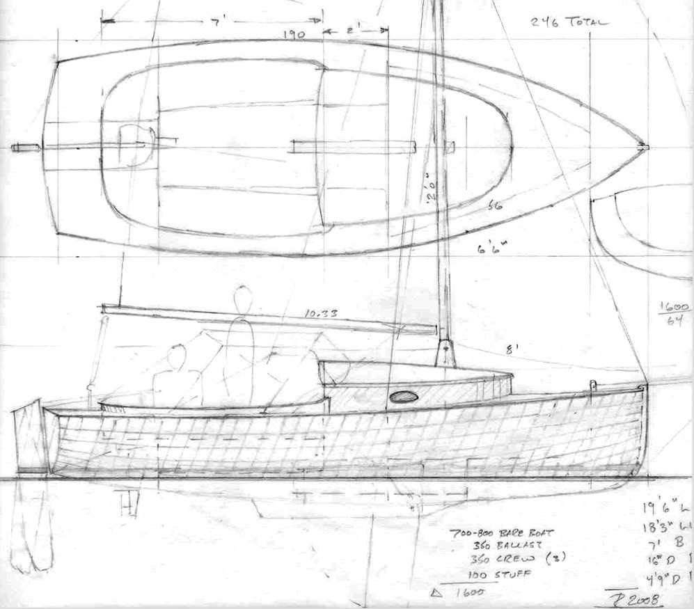 """19' 5"""" Sailing Scooter ~ Small Boat Designs by Tad Roberts"""