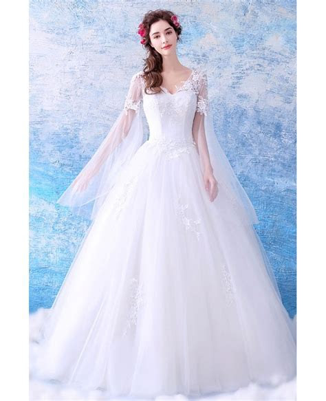 Dreamy Cape Lace Sleeves Princess Wedding Dress Ball Gown