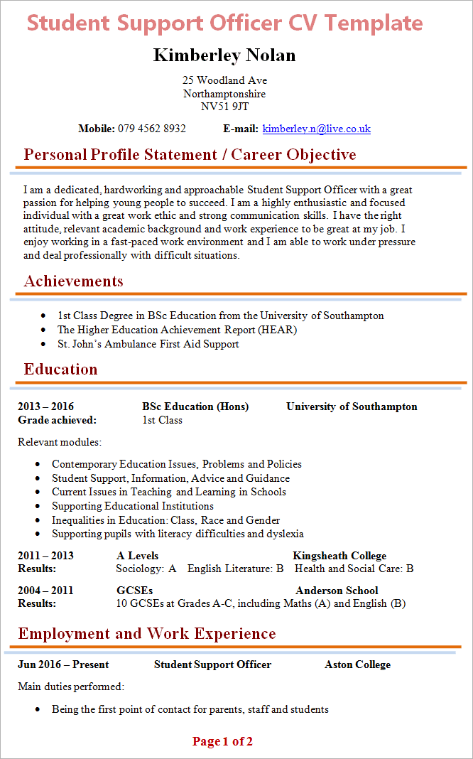 Student Support Officer CV Template 1