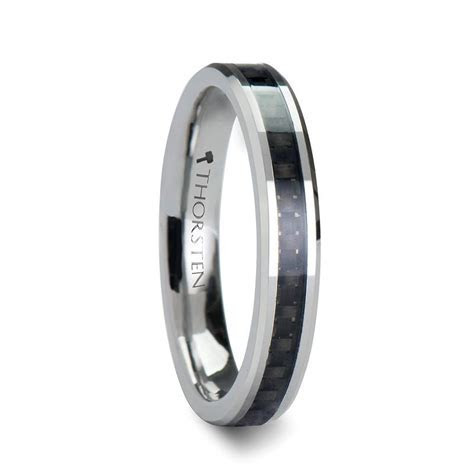MENLO Women's Tungsten Wedding Band with Carbon Fiber