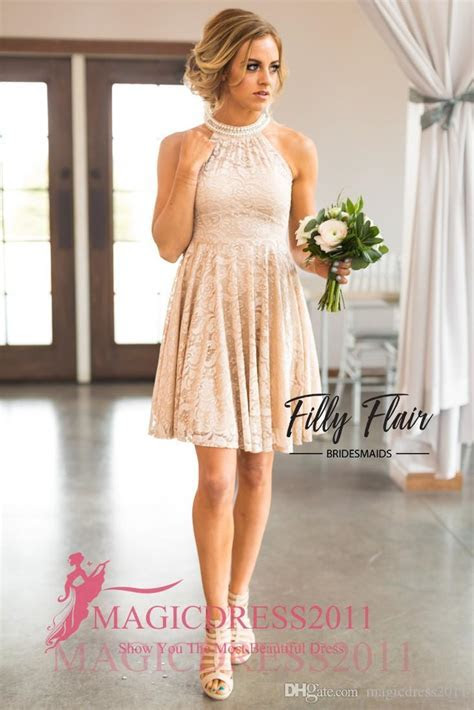 Modern Nude Country Bridesmaid Dresses 2017 A Line Halter