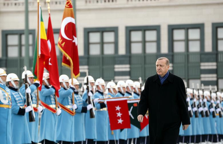 Turkish President Tayyip Erdogan reviews a guard of honour during a welcoming ceremony at the Presidential Palace in Ankara, Turkey, February 7, 2017. Picture taken February 7, 2017. Kayhan Ozer/Presidential Palace/Handout via REUTERS ATTENTION EDITORS - THIS PICTURE WAS PROVIDED BY A THIRD PARTY. FOR EDITORIAL USE ONLY. NO RESALES. NO ARCHIVE.
