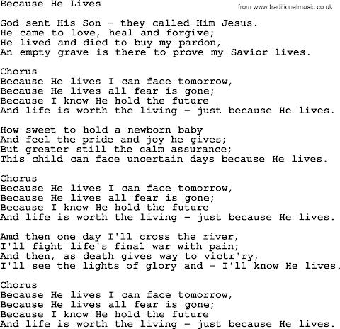 Because He Lives Hymn Lyrics Pdf