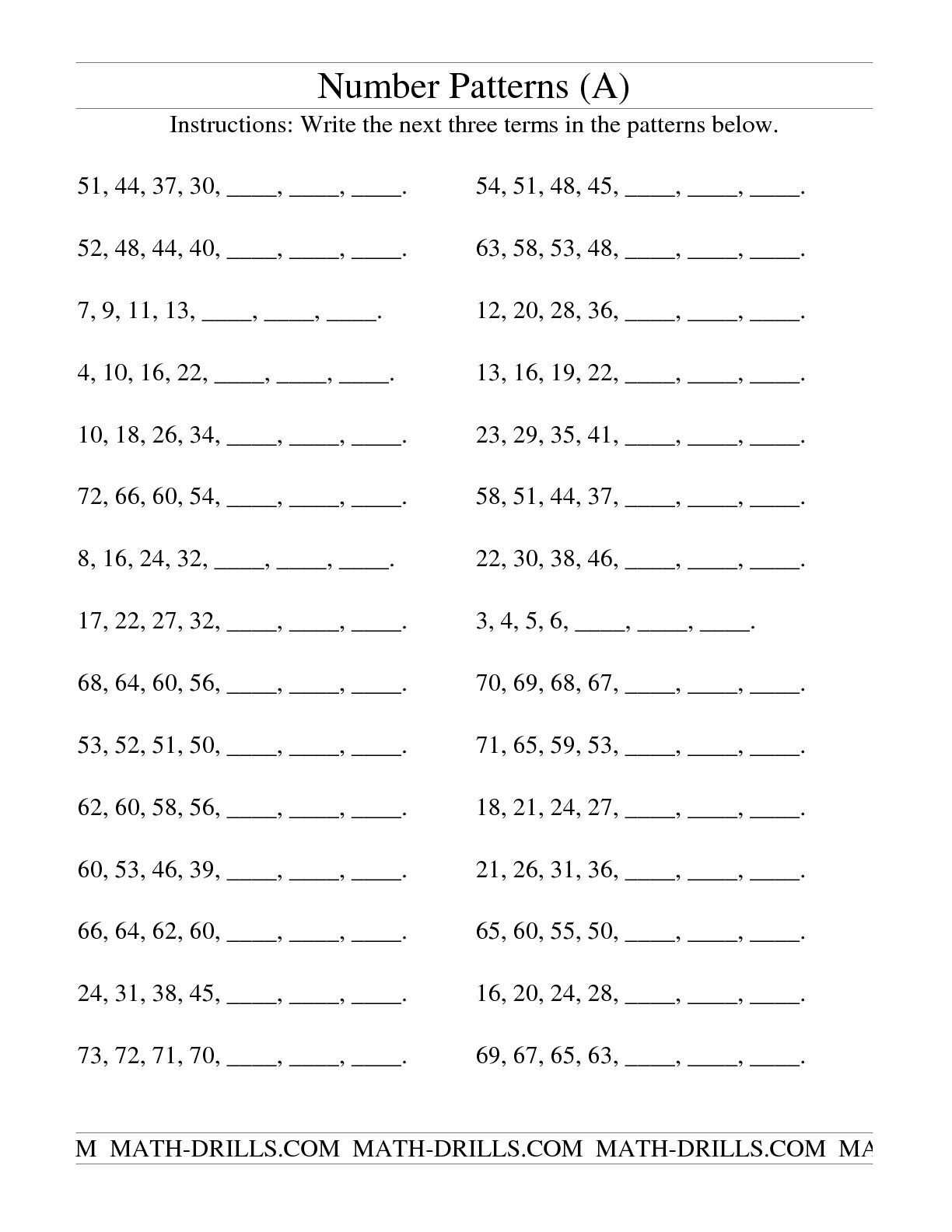 growing number patterns worksheets_426999
