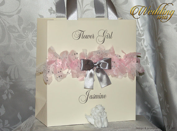 Silver Rose Ivory Custom Bridesmaids Gift Bag Personalized
