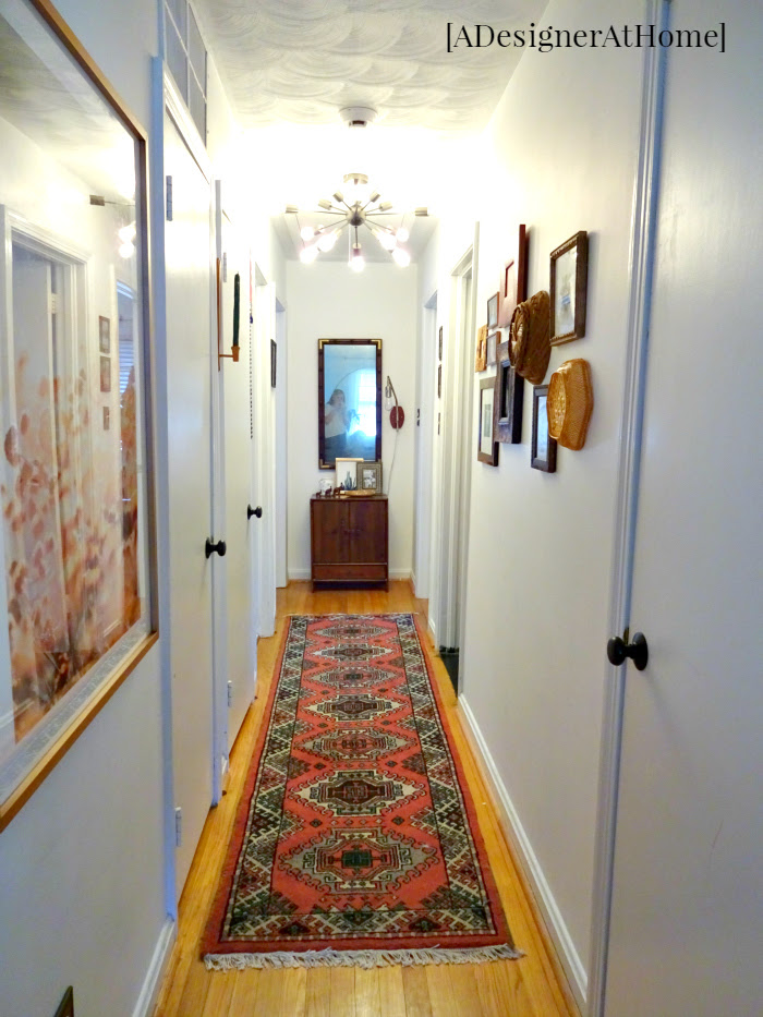 white canvas with lots of pattern and texture- a global boho vintage inspired hallway makeover