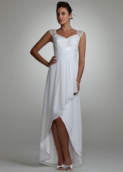 David's Bridal Wedding Dress: Cap Sleeve Beaded High Low