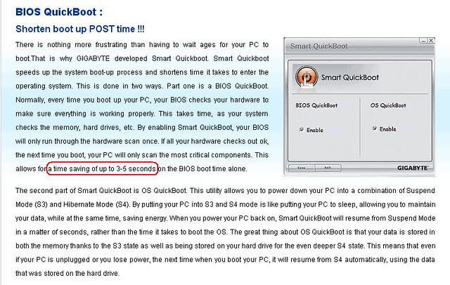 Smart6 QuickBoot time savings