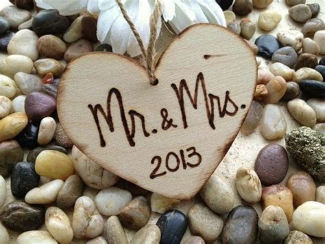 Rustic Wood Heart Mr & Mrs for Bride and Groom by