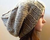 Slouchy beanie hat - Lt KHAKI - knit - womens teen girls - accessories - Wool Woolen slouch - baggy