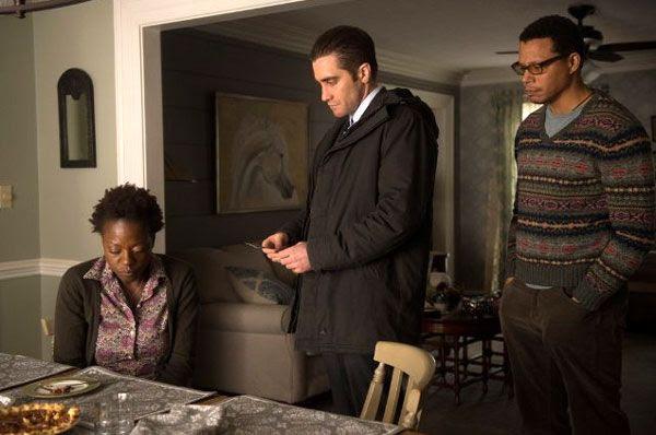 Detective Loki (Jake Gyllenhaal) questions Nancy Birch (Viola Davis) and her husband Franklin (Terrence Howard) in PRISONERS.