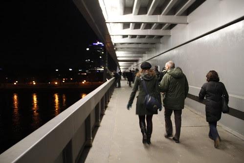 Crossing the Novy Most bridge
