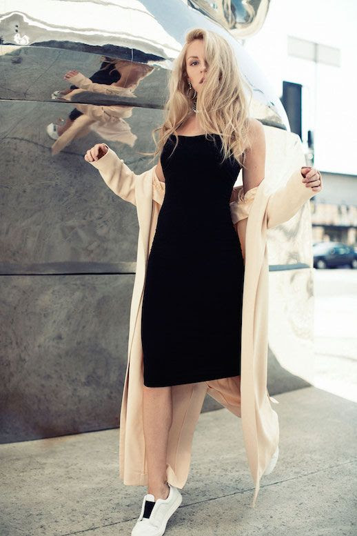 Le Fashion Blog Shea Marie Black Long Dress Sneakers Long Light Weight Coat Via Peace Love Shea