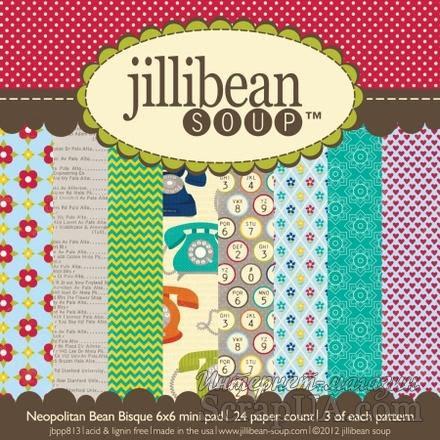 Набор скрапбумаги Jillibean Soup - Neopolitan Bean Bisque, размер 15х15 см, 24 листа - ScrapUA.com
