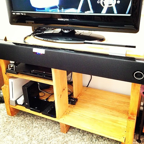 Scott finished building the tv stand this weekend! He built it from a pallet. Very proud of him!