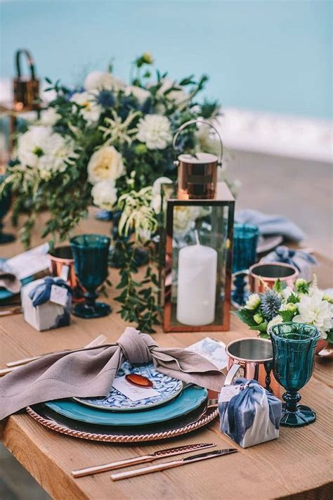 Copper and teal wedding table decor ideas   autumnal