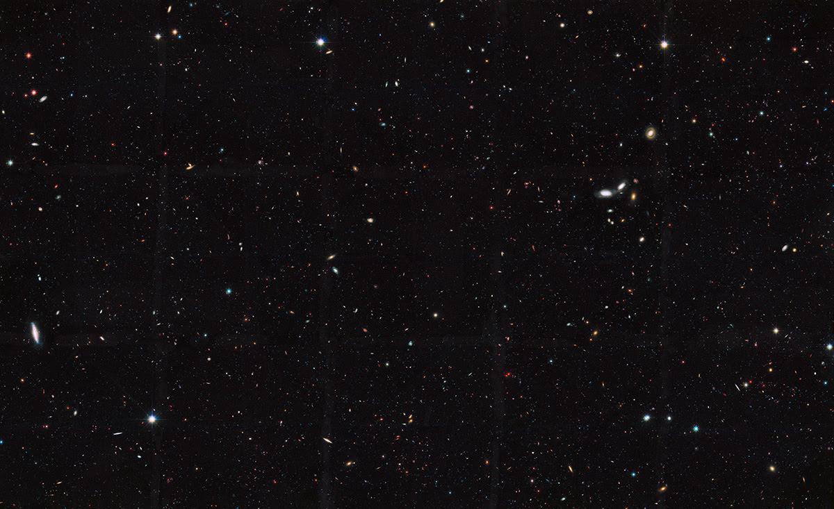 Quan sát mới nhất của kính Hubble cho thấy số lượng thiên hà trong vũ trụ quan sát được nhiều hơn 10 lần so với những gì chúng ta nghĩ trước đây. Credit: NASA, ESA, the GOODS Team, và M. Giavialisco (Đại học Massachusetts, Amherst).