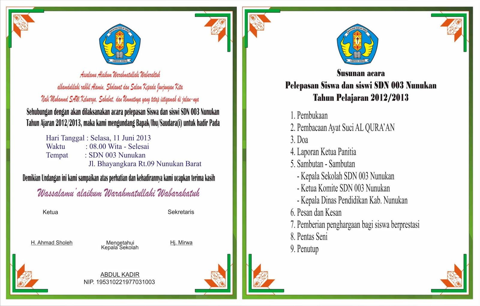 contoh surat undangan perpisahan untuk guru contoh isi undangan