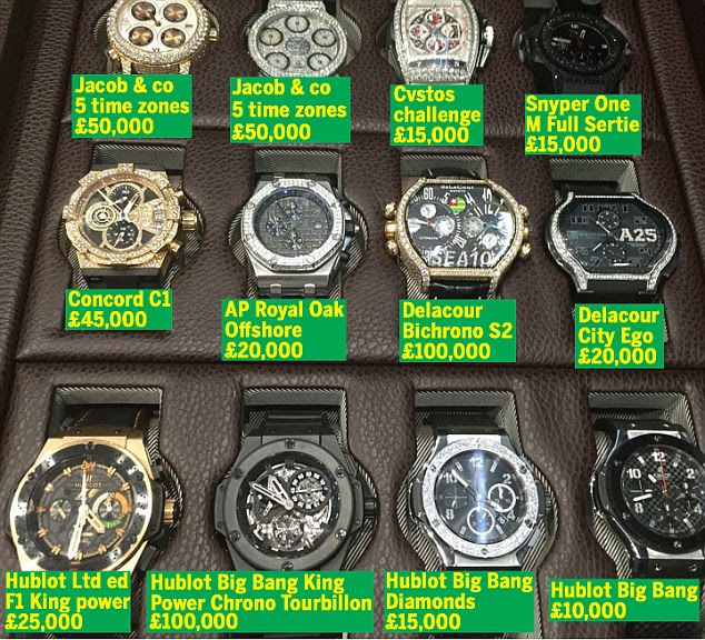 Emmanuel Adebayor's collection of 12 personalised watches was posted on Instagram by Frost of London. MailOnline has added the retail prices. The watches - in a storage box- show different times because many are automatic movement pieces meaning they require the owner to wear them to wind them up