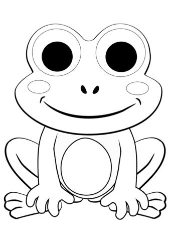 cute cartoon frog coloring page  free printable coloring
