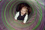 Kath going through the tunnel