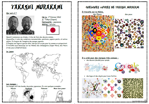 Fleurs à la manière de Takashi Murakami, fiche artiste, dixmois