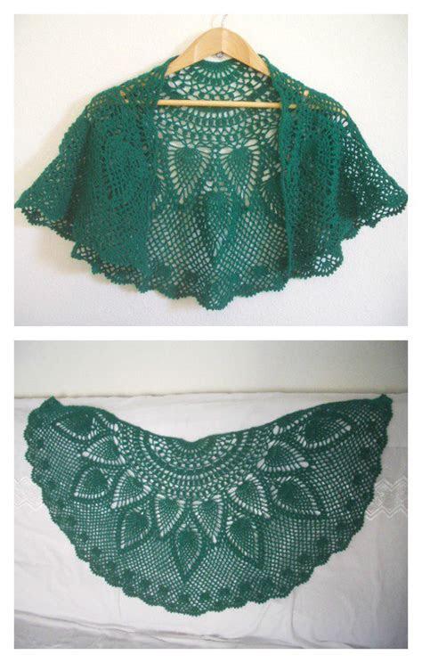pineapple peacock shawl  crochet pattern