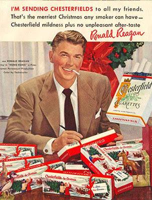 Ronald Reagan manda pacotes de Chesterfield de natal