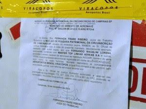 Avião de carga que teve mandado de arresto em Campinas (Foto: Hamilton Ravani Neves/Arquivo pessoal)