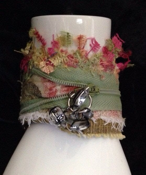 Fabric art cuff bracelet U1 on Etsy, $24.99