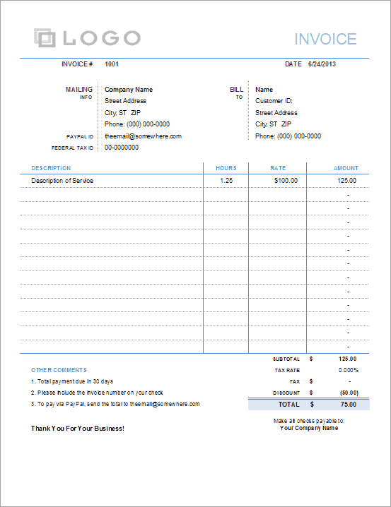 simple invoice with hours and rate