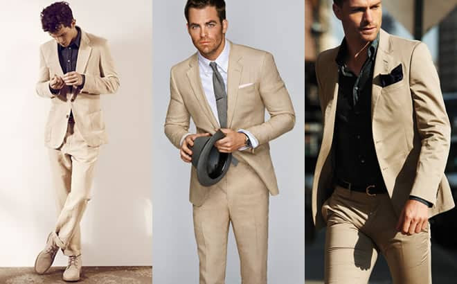 Khaki Suits With Neutrals Lookbook