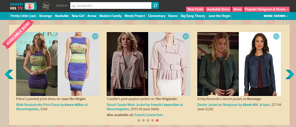 WornOnTV.net sells outfits that characters wear on TV shows.