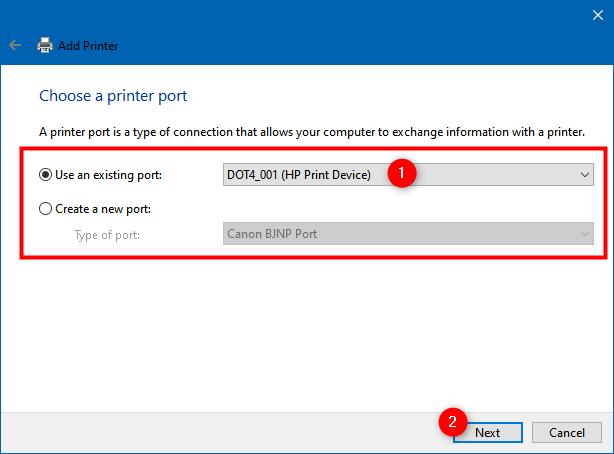 Utilice un puerto existente o cree un puerto nuevo