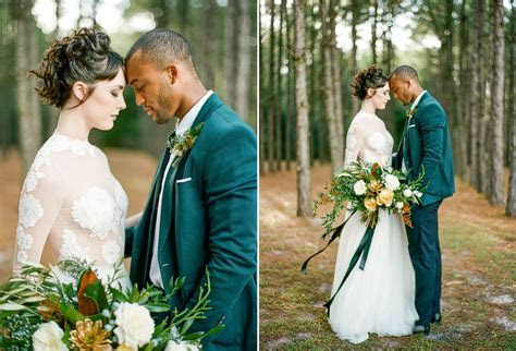 Glamorous Green & Gold Woodland Wedding Inspiration   Chic