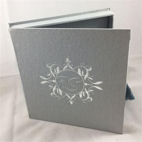 Vintage Monogram Foil Stamped Linen Wedding Box For