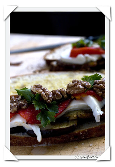 picture photograph image aubergine, pepper mozzarella and walnut sandwich 2007 copyright of sam breach http://becksposhnosh.blogspot.com/