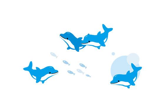 フリー素材 楽しそうに泳ぐイルカ達を描いたイラストセット爽やかな