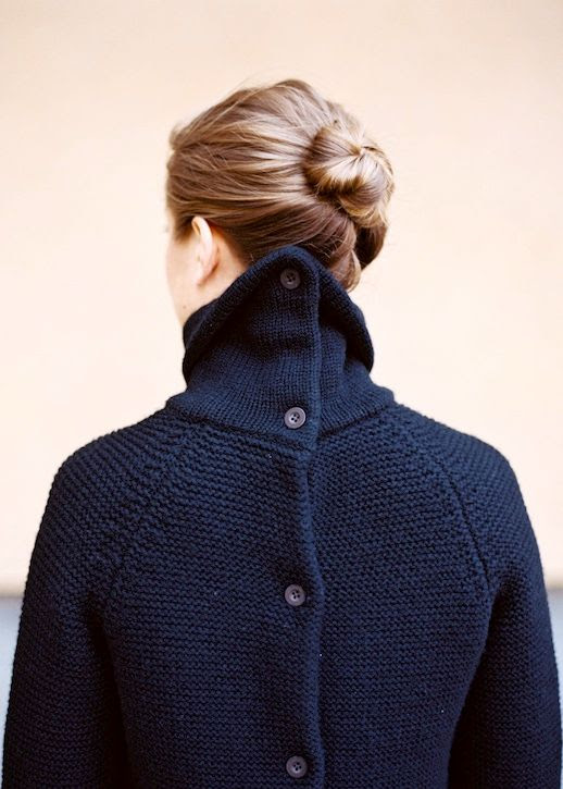 Le Fashion Blog Hair Inspiration Bun Navy Sweater With Buttons On Back Via Wit & Delight