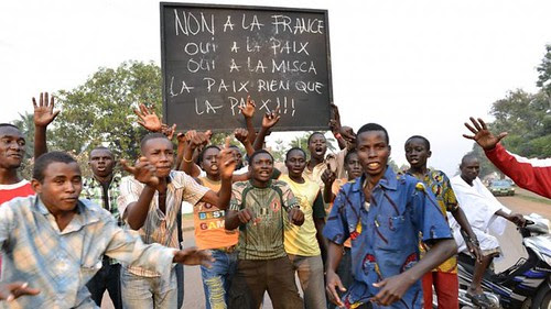 Central African Republic citizens demonstrating against French imperialist intervention in their country. France and allied states are occupying the mineral-rich state. by Pan-African News Wire File Photos
