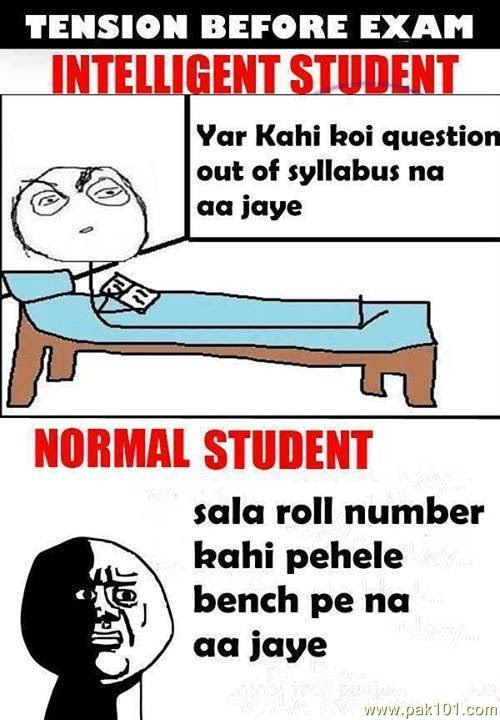 Funny Picture Tension Before Exam Of Intelligent And Normal Student