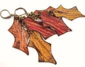 Orange Red Yellow Rustic Autumn Leaf Earrings Aluminum Can Jewelry - funkychicUPCYCLING