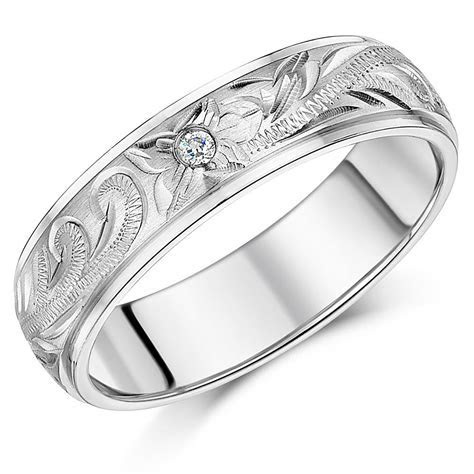 Titanium Wedding Ring Band Hand Engraved 6mm or 8mm CZ