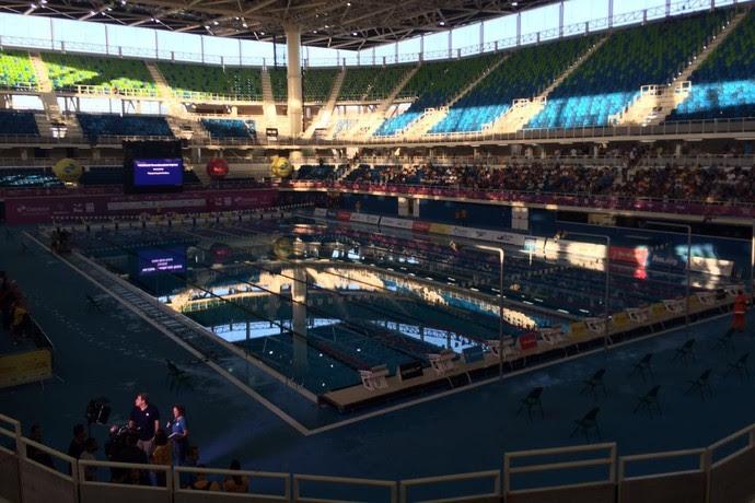 Problema de energia no evento-teste natação; maria lenk  (Foto: Fabrício Marques)