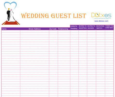 Blank wedding guest list template   Dotxes