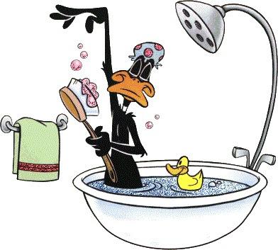 Daffy Duck, bath tub, bathing, shower, brush, cartoon, funny