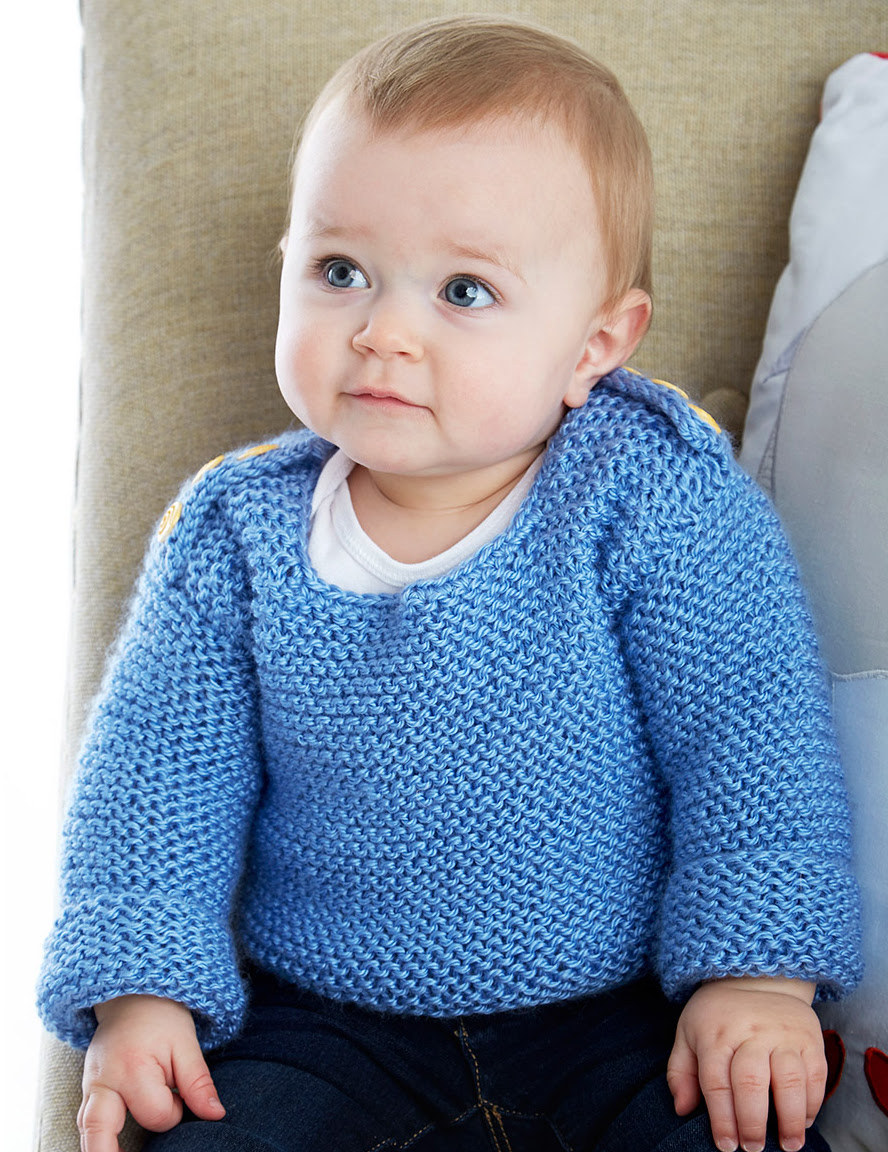 Free Knitting Pattern for Baby Garter Stitch Sweater