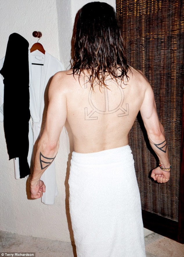 Proud: The Dallas Buyers Club star was happy to display his tatted skin